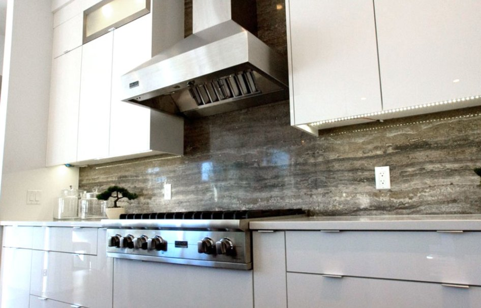 Persian Silver Travertine installed as a backsplash