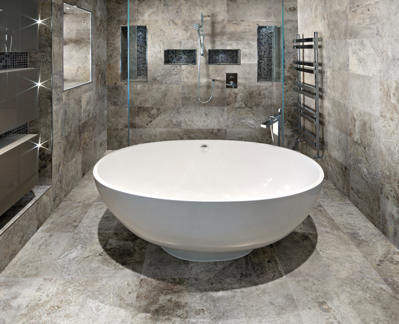 Silver Travertine installed in a bathroom