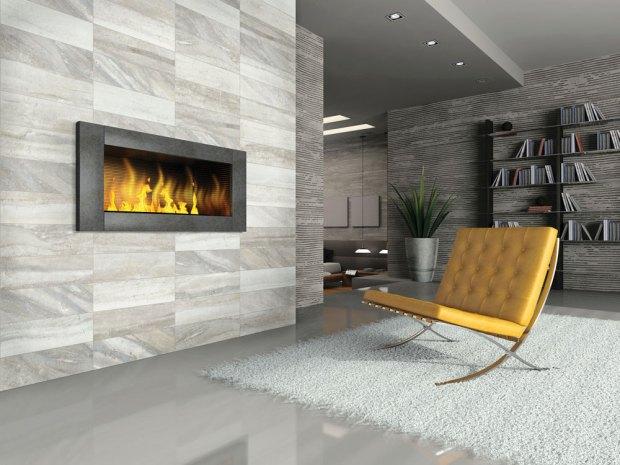 Evolution Sand Porcelain Tile installed on a fireplace
