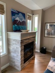 Wooden Marble Fireplace Installation