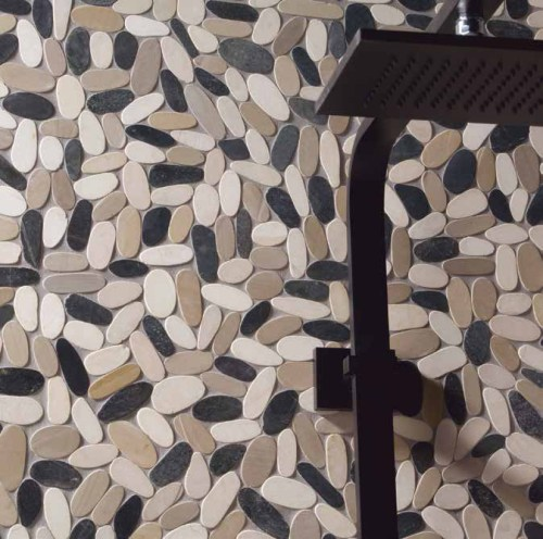 Pebble Mosaics white and black