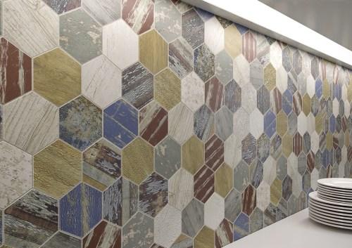 hexagonal mosaic wall colours
