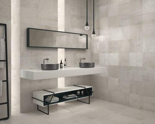 grey feature bathroom