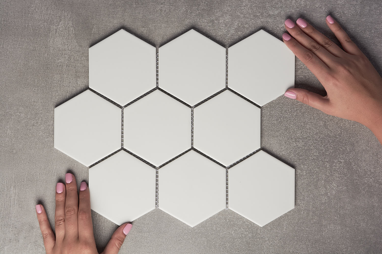 lucas large white gloss hexagon mosaic