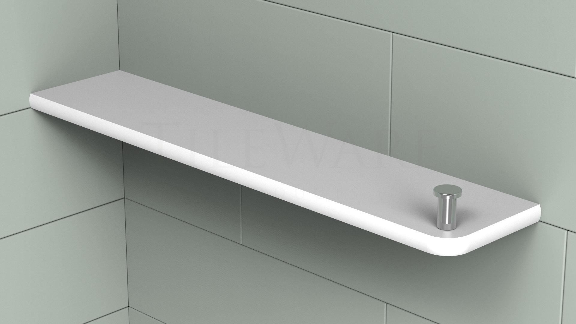 Boundless Rectangular Corner Shelf With Shower Hook For Tile