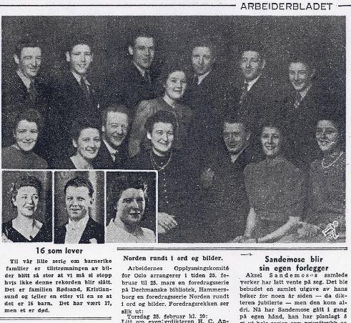 Kaspara og alle 16 barna som voksteopp i ca 1950