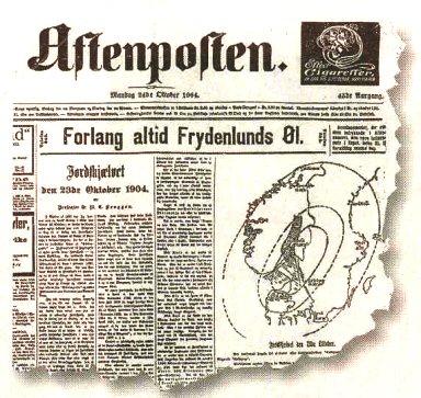 Aftenposten skriver om jordskjelvet i 1904