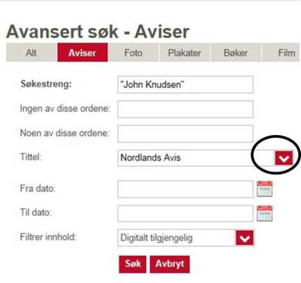 Søker på NB på navn og avis