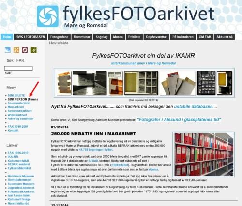 Forsiden på fylkesfotoarkivet i Møre og Romsdal
