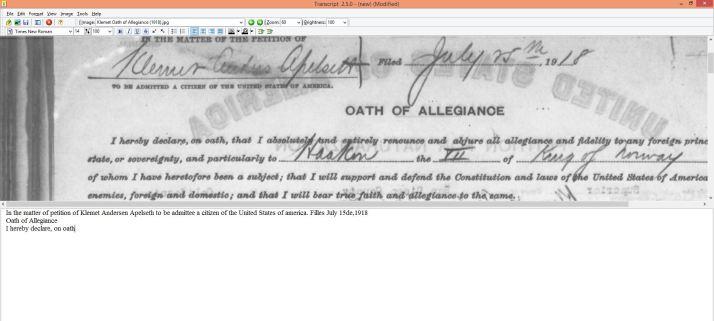 Her holder jeg på skrive av et dokument  hvor onkel Klemet sverger troskap til USA når han blir amerikansk statsborger