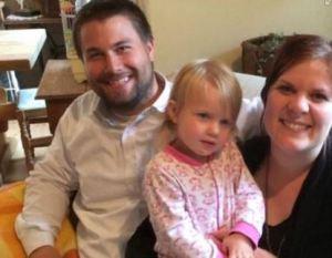 Min sønn Michael, barnebarnet Phoebe og svigerdatter Linnea