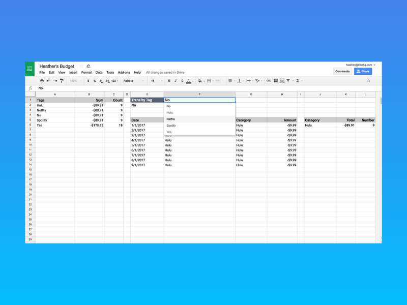 track subscriptions spreadsheet