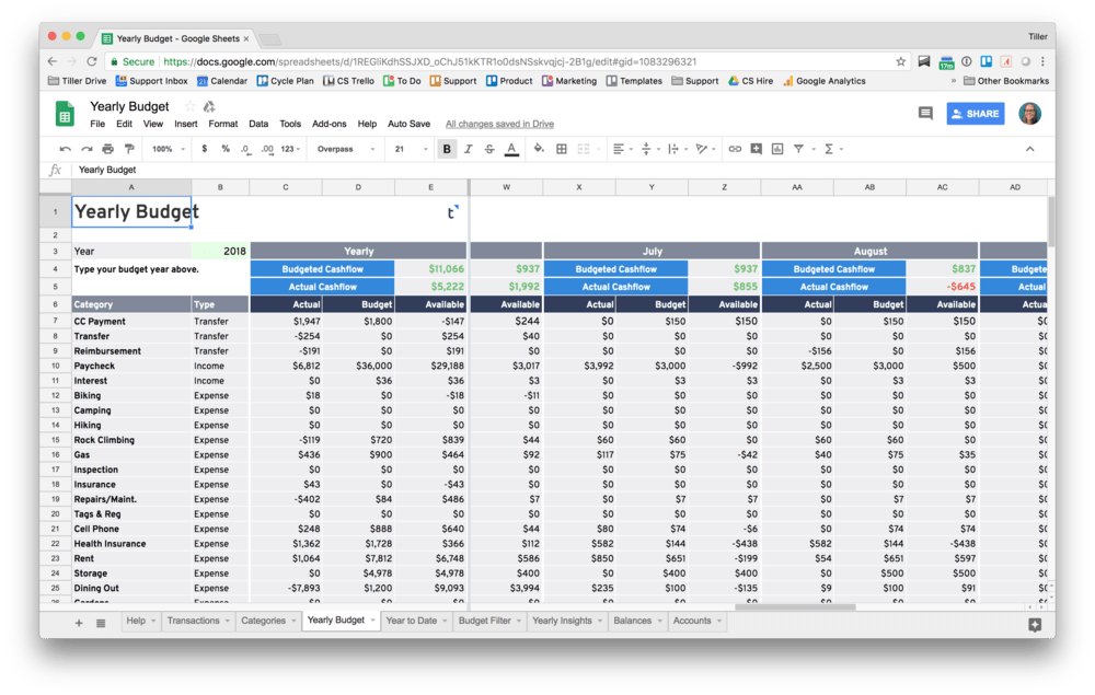 monthly budget for google sheets powered by tiller
