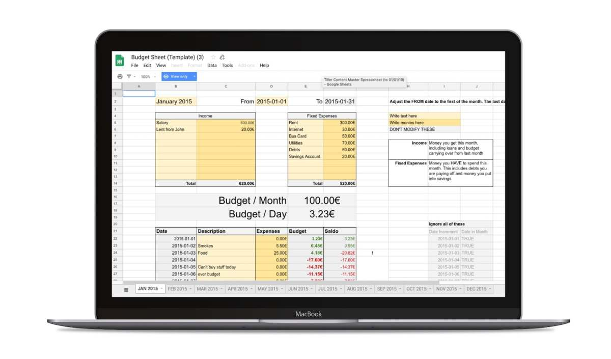 Reddit Template Budget Google Sheets