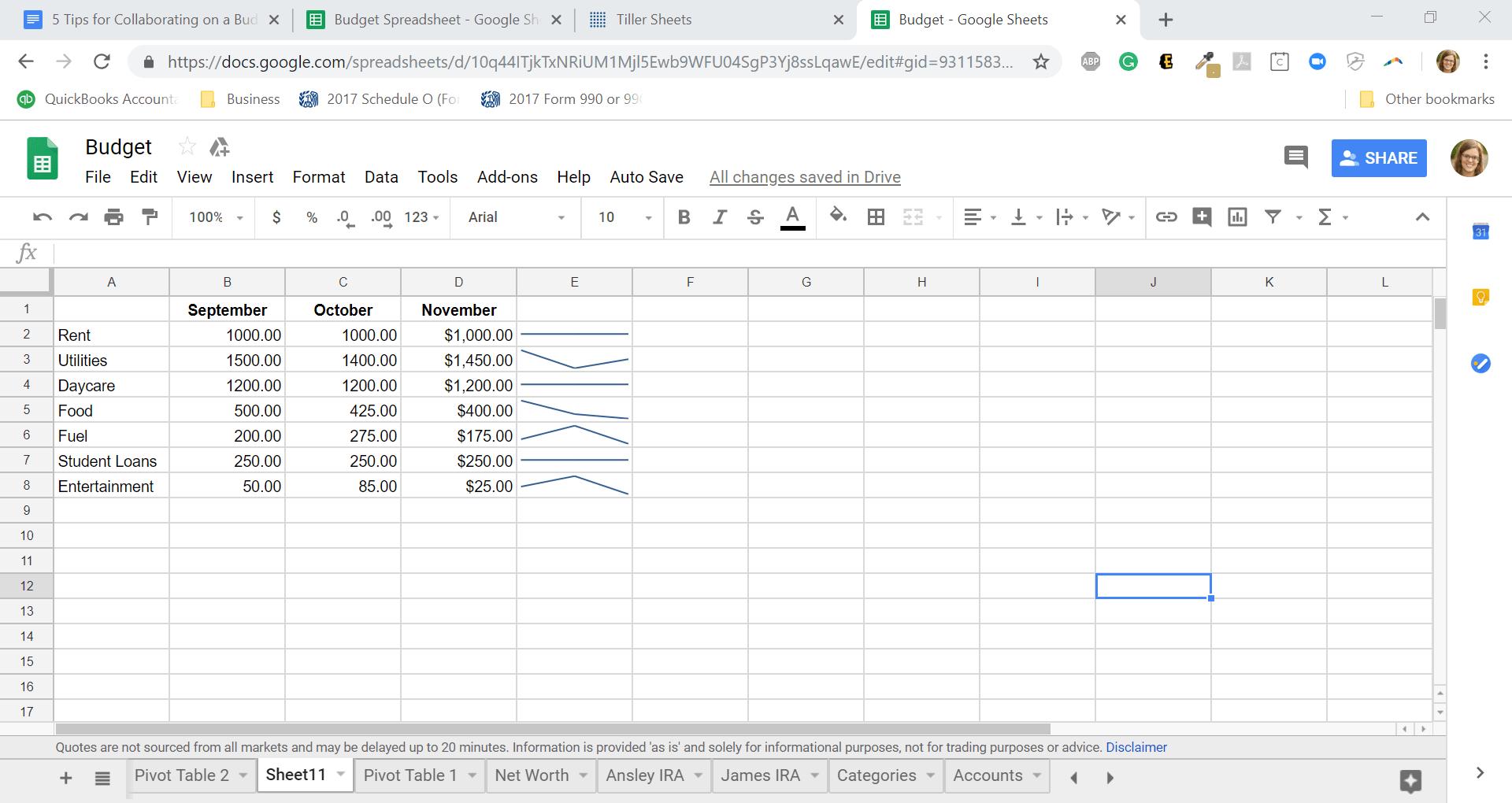 Sparkline chart in shared Google Spreadsheet
