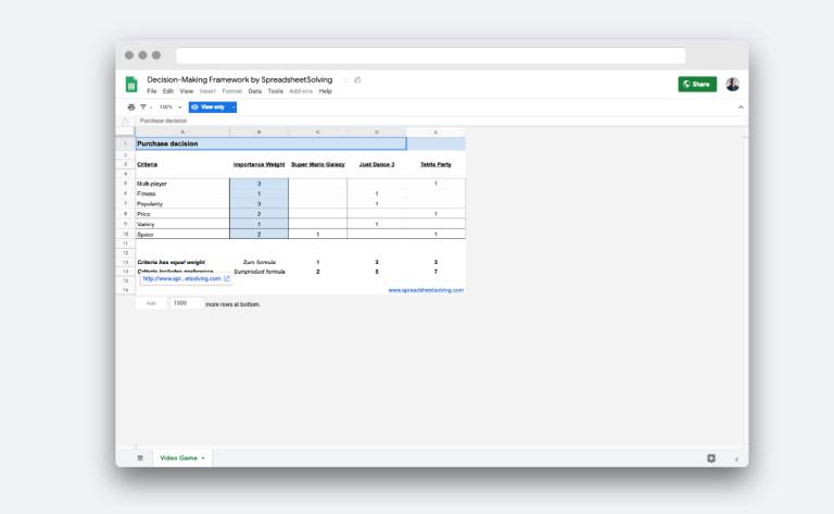Decision-Making Framework by SpreadsheetSolving