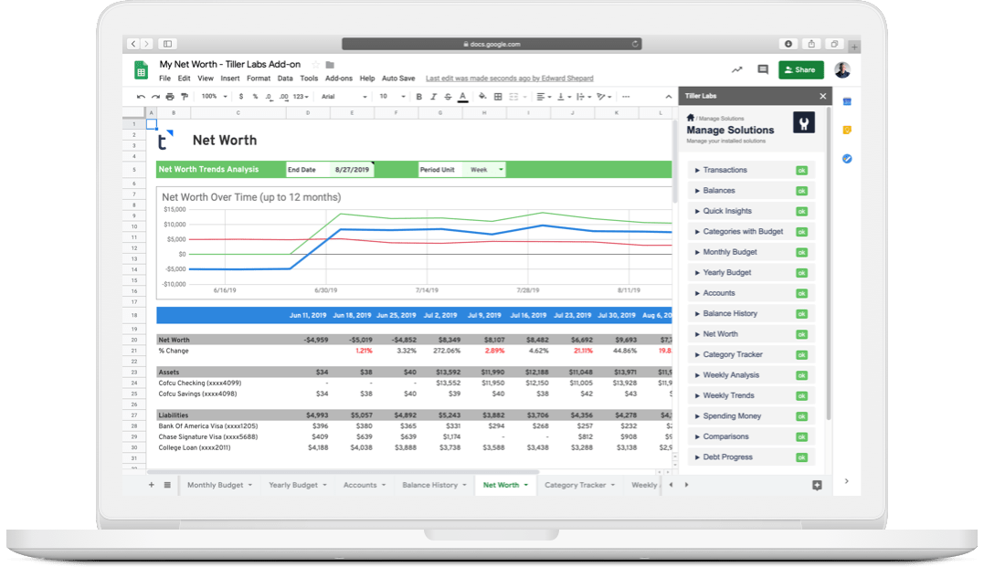 Tiller Money: Easiest way to track finances in spreadsheets