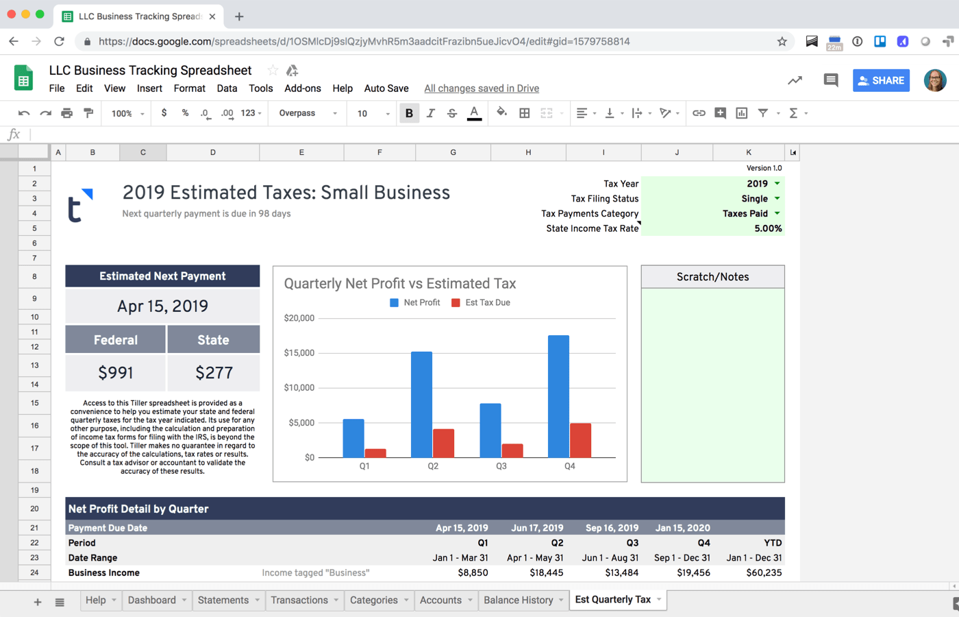 Quarterly Tax Estimator for Google Sheets
