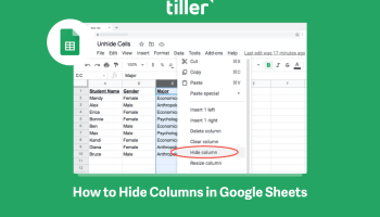 How to Hide and Unhide Columns In Google Sheets