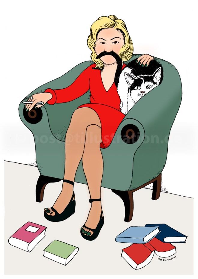 Autorin Madame Casanova ist bei Verlagskater Jethro zu Besuch