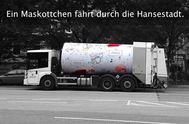 Das Drehtrommelfahrzeug fährt durch die Stadt Hamburg.