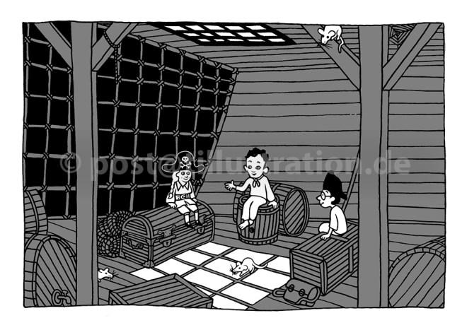Drei kleine Seeräuber unter Deck
