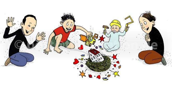 Die Illustration zeigt eine Familie Vater Mutter und zwei Kinder, die um ihr Haus sitzen und ihr Nest und ihr Haus gestalten.