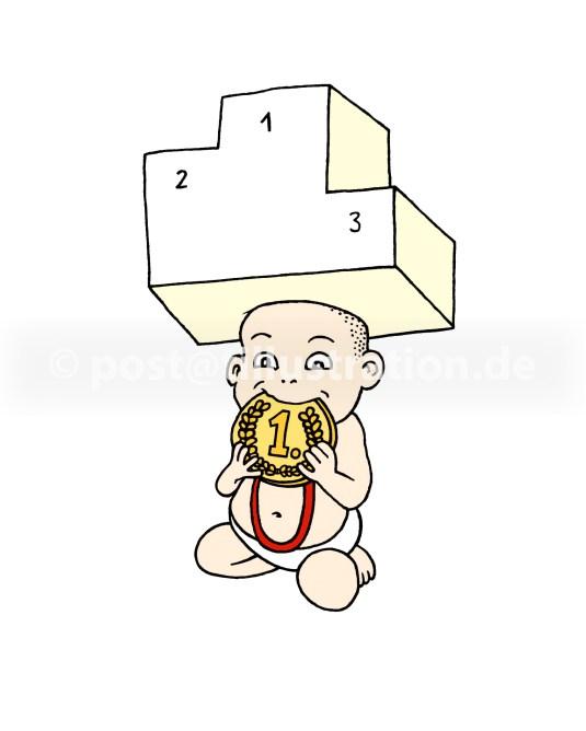 Thema Wettbewerb und frühkindliche Erziehung: Baby beisst auf eine Medaille