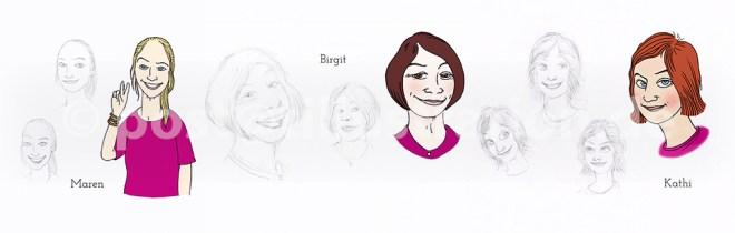 Die drei Hauptcharaktere: Mares, Birgit und Kati