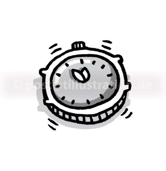 Eine nervöse Uhr zeigt 5 vor 12 an.