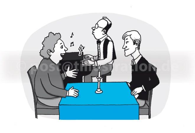 Es unterhalten sich zwei Menschen in einem Restaurant. Dazu spielt ein Klavierspieler eine Begleitmusik im Hintergrund.