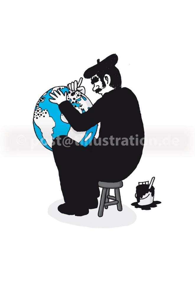 Ein in Schwarz gekleideter Künstler hält einen Globus in seinem Schoß und trägt mit einem Pinsel schwarze Punkte auf.