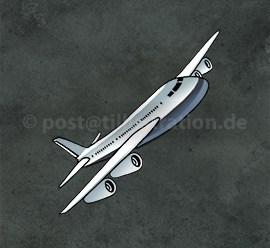 Ein Flugzeug fliegt schräg durch einen dunklen Unwetterhimmel