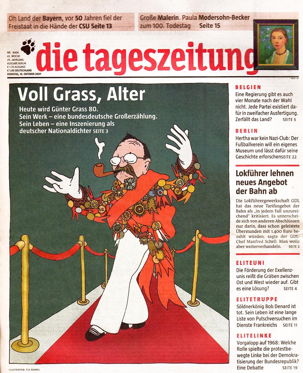 Zeitungstitelseite der taz vom 16.10.2007 mit der Karikatur des deutschen Nationaldichters Günter Grass