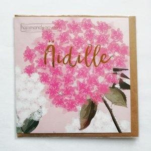 Kaksiosainen kukkakortti äidille