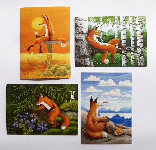 Neljä Katja Saarion suosittua kettu postikorttia