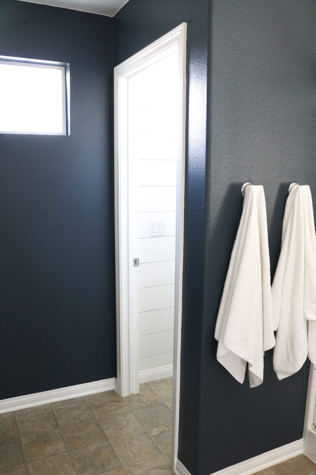 A quick master bathroom makeover with a moody blue paint color and shiplap water closet!