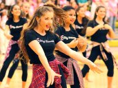 The TCHS Sky Dancers perform at the Oct. 3, 2014 pep rally. (Photo by The Creek Yearbook photographer Grace Nakajima.)
