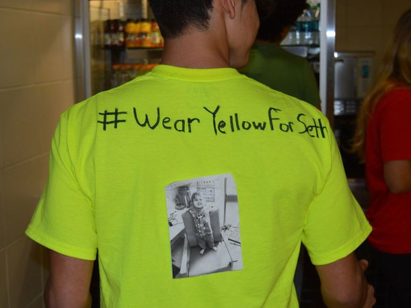 A student wears yellow in support of the #WearYellowForSeth campaign on March 27, 2015. (Photos by TCTV's Bailey Hoseney)
