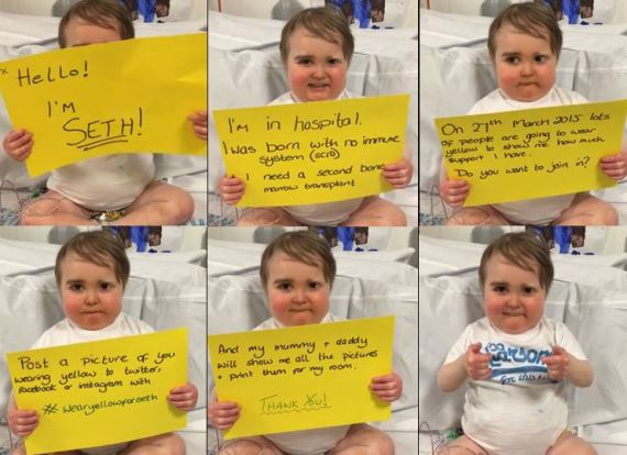 (Combined shots from a YouTube video announcing the #WearYellowForSeth campaign.)
