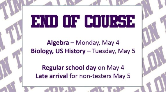 end of course may 4 and 5