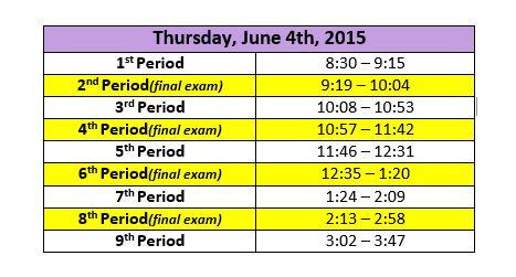 june 4 bell schedule
