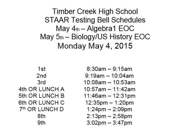 bell schedule Monday