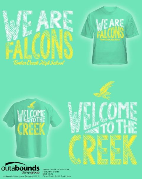 """Welcome to the Creek"" mint green shirts are designed for 2015-16 TCHS students and staff."