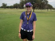 Maddi Turner made her mark for our season and shot her Timber Creek best to capture the Girl's Tournament Champion medal. (Photo from TCHS Golf.)