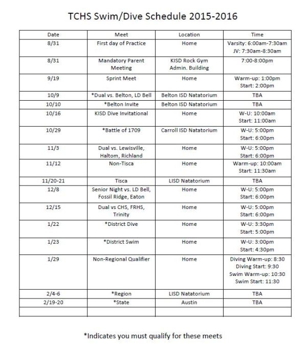 tc swim and dive schedule