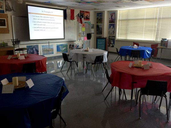 French teacher Roger Thomas turned his classroom into a Parisian cafe for a French IV class.