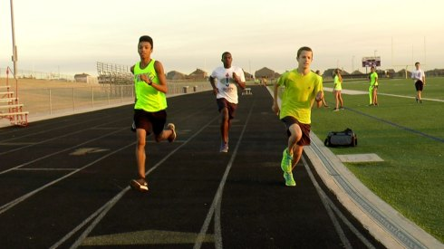 TCHS Cross Country team members practice on Oct. 15, 2015.