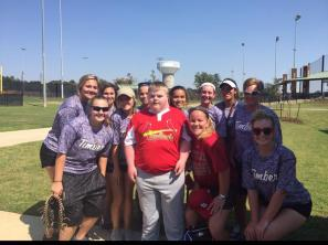 Photo shared by Timber Creek Softball of players participating the Miracle League.