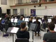 "Photo of Timber Creek Band students learning ""Soundpainting"" with guest artist Leese Walker. (Photo courtesy of Blake Wilson.)"